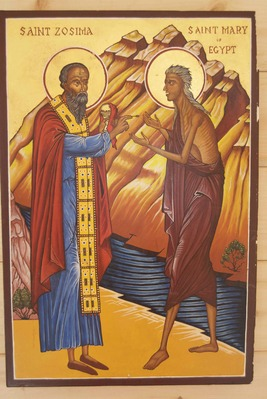 A hand-done icon of Elder Zosima giving communion to Mary of Egypt, after she walked over the River Jordan